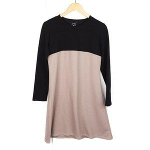 Numinou Black/Brown Colorblock A-Line Shirt Dress